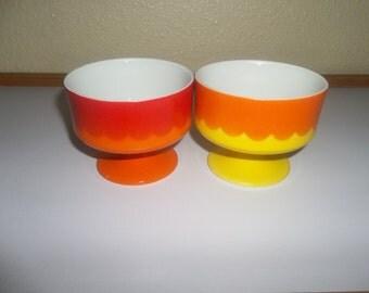 Vintage Japanese 1970's Dessert Bowls Cups Set of 2