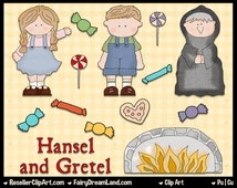 Hansel and Gretel Digital Clip Art - Commercial Use Graphic Image Png Clipart Set - Instant Download - Storybook Fairytale Nursery Rhyme