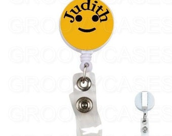 Personalized Badge Holder Retractable Happy Smiley Face