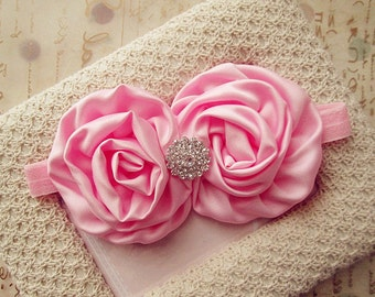 "Baby Headband-Light Pink Rolled Rosette 3"" flower Headband with Diamond center"