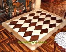 "71"" x 80'' White & Brown Alpaca Rug. ""Rhombus"" Design. Genuine peruvian alpaca fur rug. Gorgeous rug. 71'' x 80"" = 180cm x 200cm"