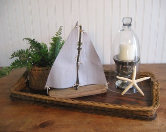 Driftwood Sailboat, nautical decor, decorative sailboat with reclaimed sail and driftwood