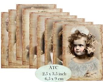 Nostalgia Girls Labels ATC Instant Download digital collage sheet S131 shabby vintage french girls