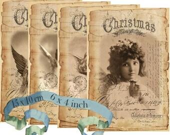Vintage Angels 6 x 4 inch Instant Download digital collage sheet D217 vintage christmas angel anges photos