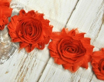 "2.5"" Burnt Orange shabby flower trim - frayed chiffon - rose flowers by the yard - blood orange - CX burnt orange"