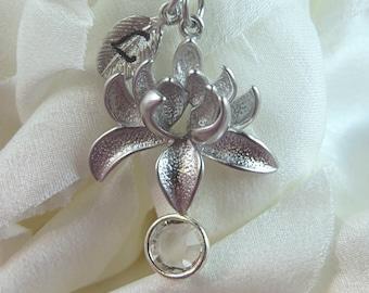 Matte silver lotus flower necklace, charm necklace, birthstone charm necklace, initial necklace