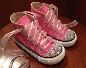 Pink High Top Bling Converse