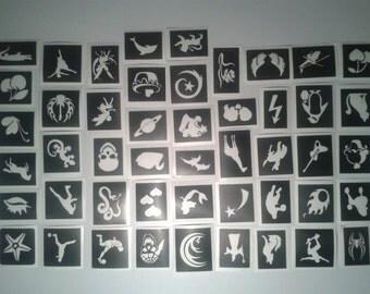 10 - 250 tattoo stencils for glitter tattoos, airbrush body art, free postage