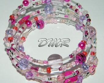 Multi looped pink beaded bangle