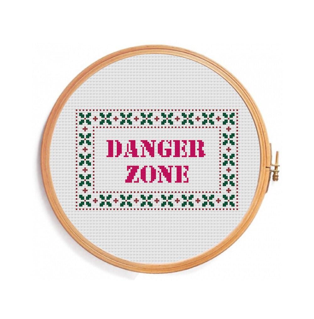 Danger zone funny cross stitch pattern instant