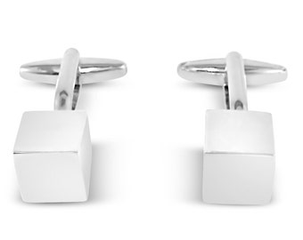Men's cube cufflinks with custom engraved personalised chrome gift box - M9