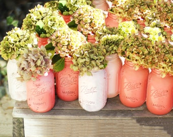 Mason Jars 12 pcs Distressed Salmon Pink & Ballet Pink / Shabby Chic Weddings / Wedding Centerpiece / Wedding Decoration / Quart Size 32oz