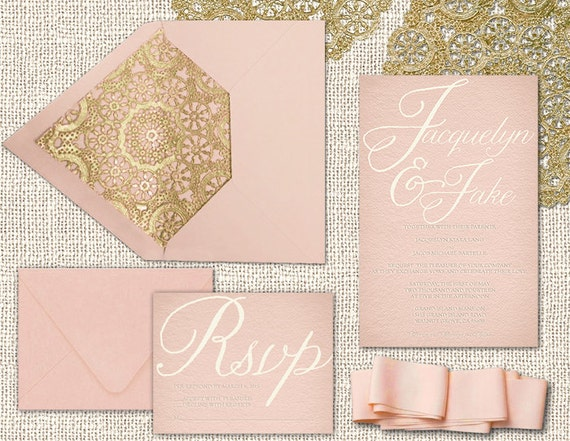 Wedding Invitations in Blush Pink & Gold / PRINTED by
