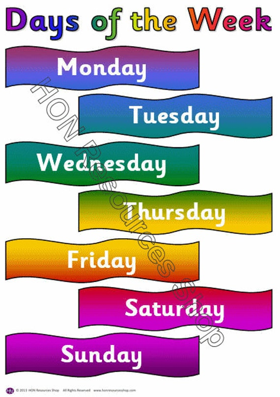 Invaluable image intended for printable days of the week chart