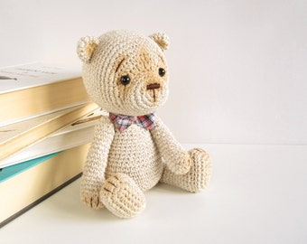 PATTERN: Classic teddy bear - 4-way jointed - Amigurumi pattern - Thread art teddy pattern - Crochet tutorial - EN-041
