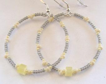 Hoop Earrings, Beaded Earrings, Boho Earrings, Yellow, Grey, Gypsy Earrings, Bohemian Earrings