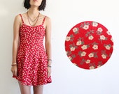Foundet - Red floral dress / spaghetti strap / festival dress / sweet heart neckline