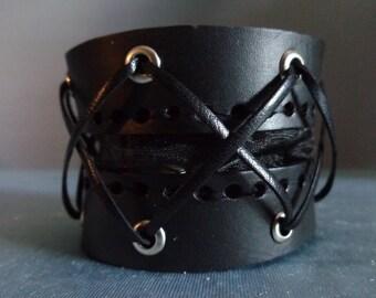 Leather Cuff by Artrix Leather and Fine art - Corset Cuff