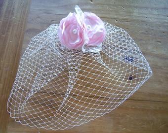 Ivory Birdcage Veil with Pink Flower Fascinator, 9 inch Short Veil, Pink Bridal hair piece, Wedding Veil, Custom Colors