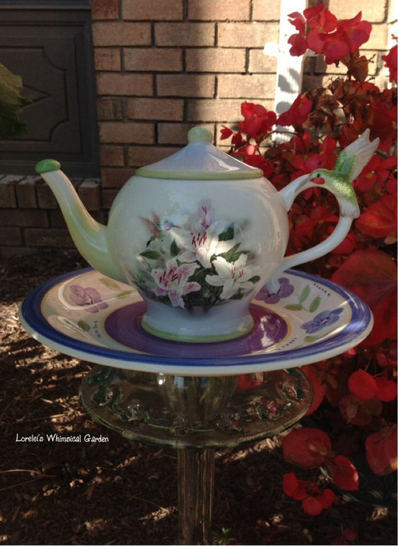 Items similar to upcycled garden decoration teapot totems for Upcycled yard decor