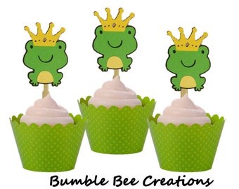 Cupcake Toppers - Set of 12 - Crowned Frog Themed