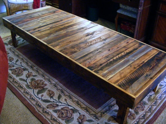 Items similar to large rustic reclaimed wood coffee table for Coffee table craft ideas