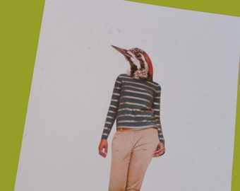 A5 Collage Woodpecker Fashion Print - Eco Friendly Recycled Paper