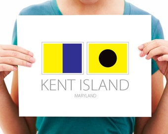 Kent Island - Maryland - Nautical Flag Art Print
