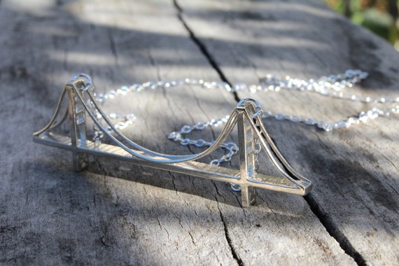 Golden gate bridge necklace 3d printed sterling by freeformind for Golden gate bridge jewelry