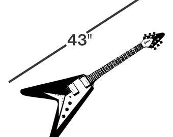 "43"" Guitar Decal Life Size - sticker flying v wall art car graphics design room decor nursery kids room mural child childrens AA69.43"