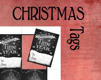 Charming Chalkboard Christmas Gift Tags - Download and print INSTANTLY -  DIY printable tags