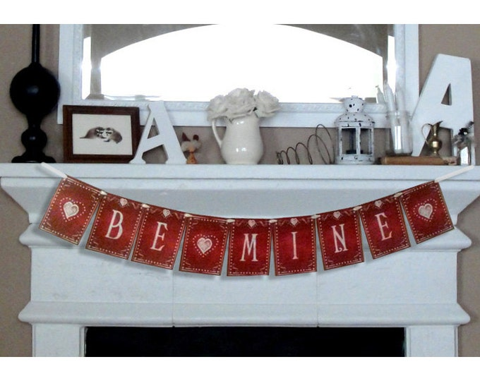 BE MINE large Valentines Day Banner - Download and Printable - DIY - Chalkboard style -Red and White