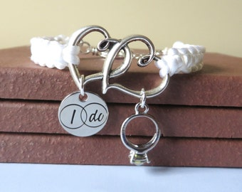 Engagement Newlywed Charm Bracelet Macrame With I Do and Wedding Ring Charms YOU Choose the Color