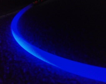 Naked UV Reactive Custom Collapsible PolyPro Hula Hoop w/ Spring Push Button Connector GLOWS BLUE Under Blacklight