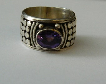 Vintage Sterling Silver Amethyst Wide Ring Size 8