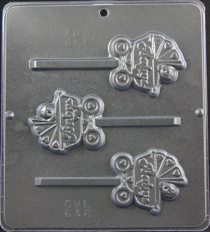 baby in carriage lollipop chocolate candy mold baby shower