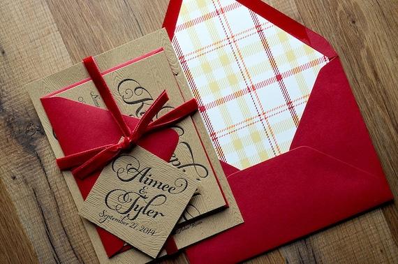 Velvet Wedding Invitations: Rustic Wedding Invitation Wood Plaid & Red Velvet Wedding