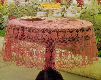 Crochet Circular Table Cloth in MC No. 20 Size - 54 inches in diameter - PDF of a Vintage Crochet pattern - Instant Download