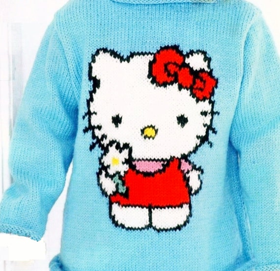 Knitting Pattern For 2 Year Old Jumper : Small Girls Picture Knit Sweater / Jumper in DK 8 ply yarn