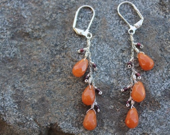 Carnelian and garnet dangly earrings