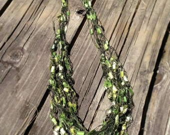 Hand Crochet Jewelry Necklace - Emerald