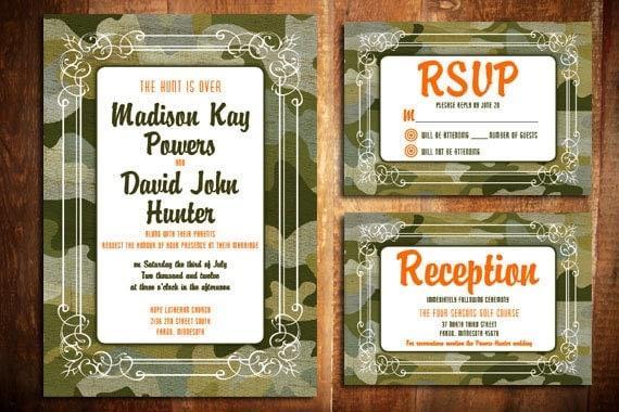 Camouflage Wedding Invitation Kits: Items Similar To DIY Printable Camo Wedding Invite Set On Etsy