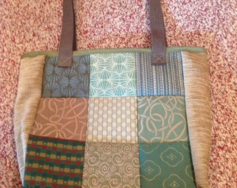 Green patchwork shoulder tote bag purse - made from upcycled upholstery fabric samples