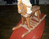 Antique wooden rocking horse vintage small child toy tane yarn mane