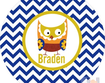 Personalized owl blue chevron plate with lime green & brown.   A custom, fun and UNIQUE gift idea! Kids love eating on personalized plates!