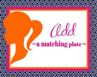 Add matching plate(s) to your order.  Add a plate to go along with your custom platter or tray. Personalized dinnerware! A unique gift idea!