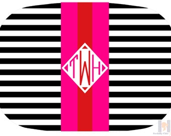 Monogrammed Serving Platter in Pink, Red, Black, White. Be the perfect hostess and entertain with style! A custom, unique and fun gift idea!