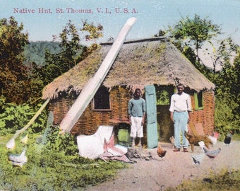 Vintage Postcard of St. Thomas, Virgin Islands: Thatched Native Hut