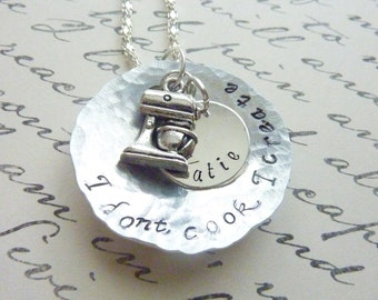 Hand stamped Chef necklace hammered cooking Necklace Personalized jewelry