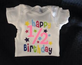 3-9 Month Gerber 1/2 Birthday Onesie